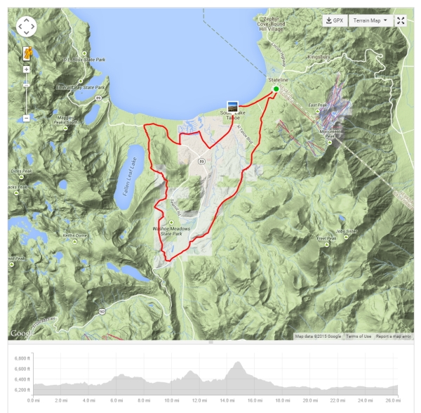 Tour of Lake Tahoe – Stage 5. Click map to see full map and ride stats on Strava.